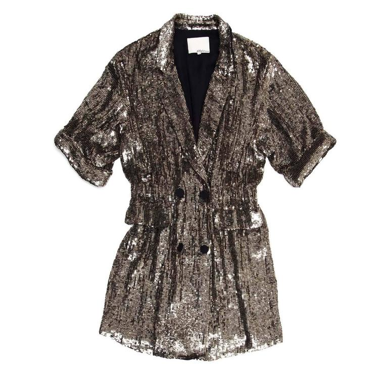 Phillip Lim Silver Sequin Dress Coat