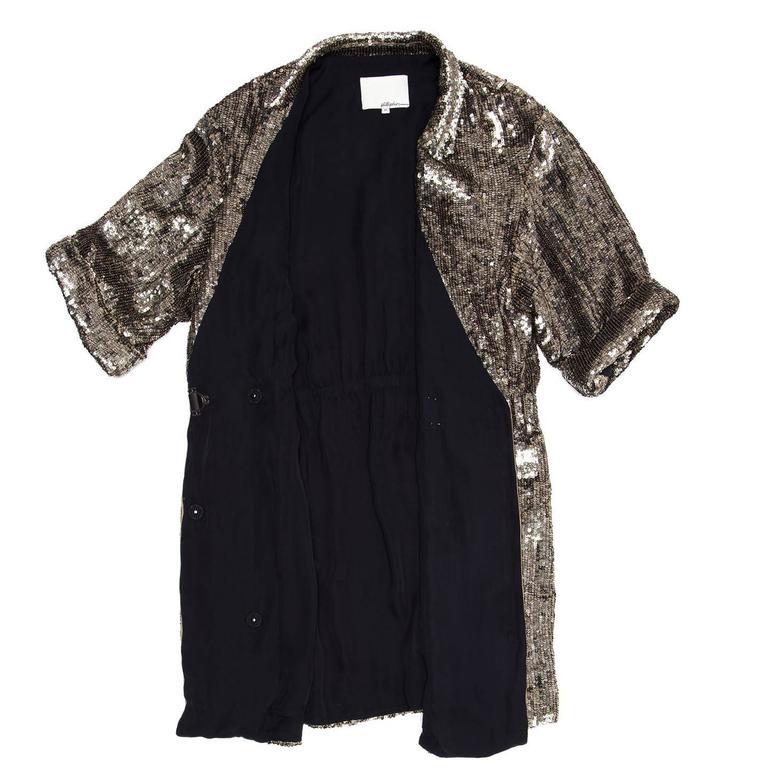 Black Phillip Lim Silver Sequin Dress Coat For Sale
