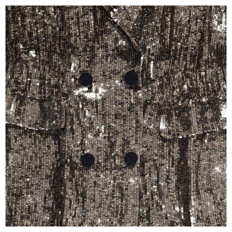 Phillip Lim Silver Sequin Dress Coat 5