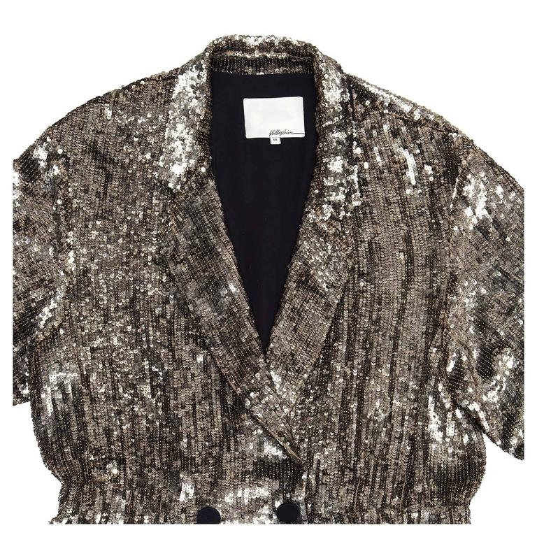 Phillip Lim Silver Sequin Dress Coat In New Never_worn Condition For Sale In Brooklyn, NY
