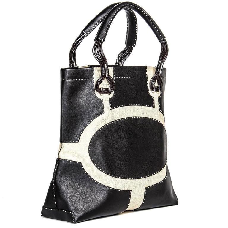 Women's VBH Black Leather & Canvas Bag For Sale