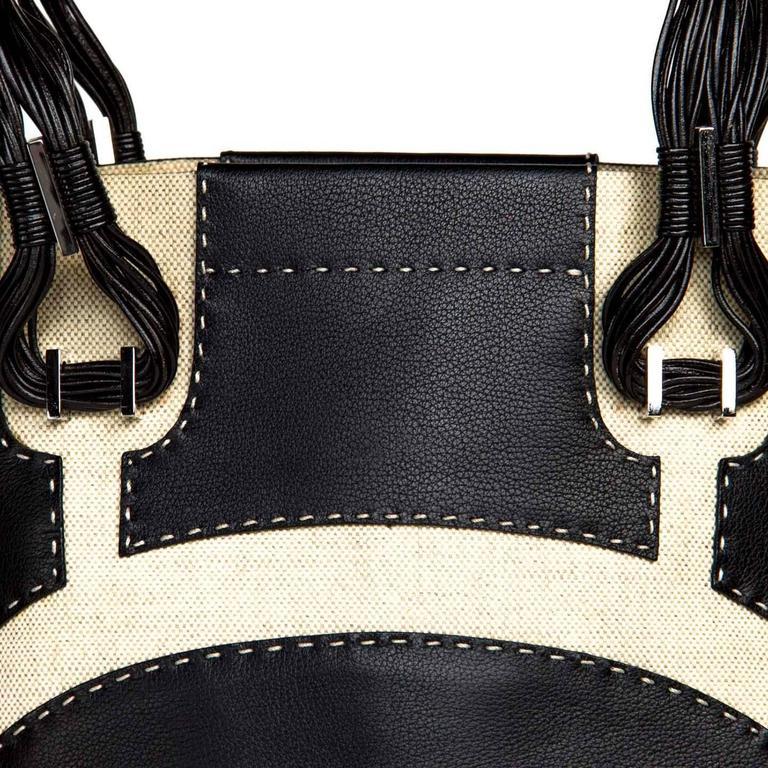 VBH Black Leather & Canvas Bag For Sale 1