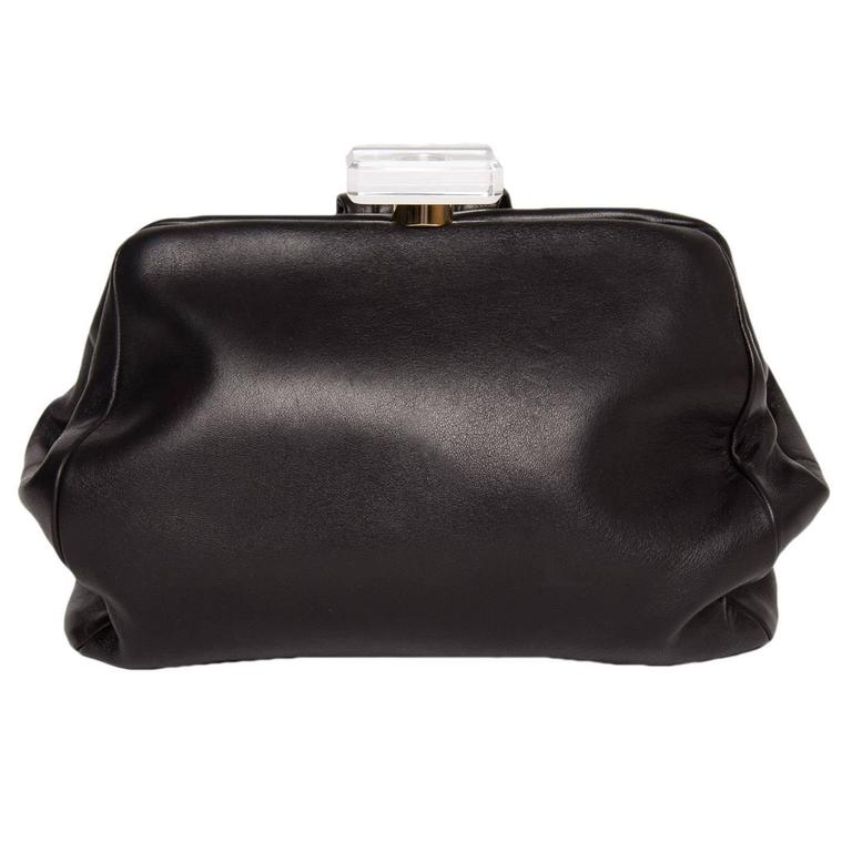 Chanel Black Leather Small Clutch Bag with Wrist Strap For Sale at ...