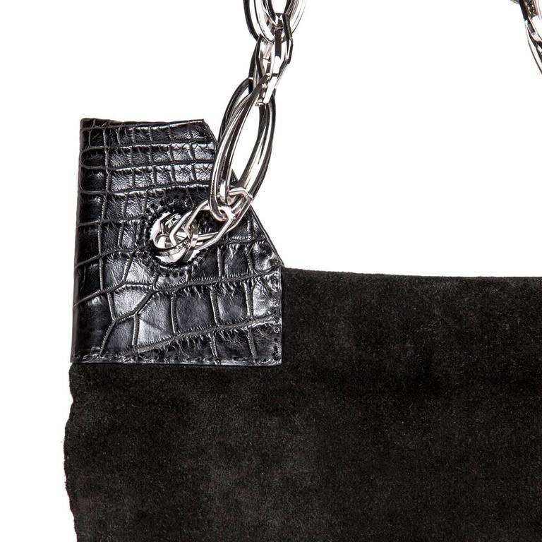 Women's VBH Black Suede & Crocodile Bag For Sale
