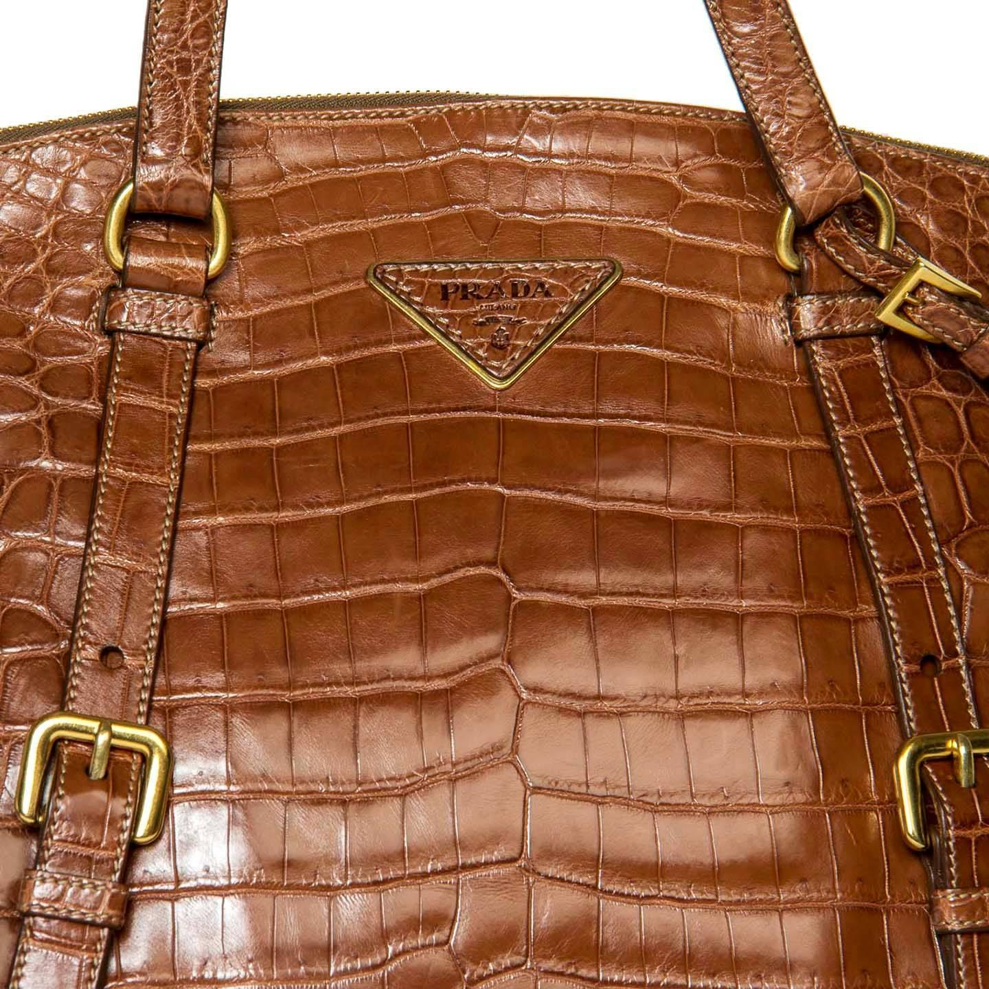 Prada Brown Crocodile Expandable Large Bag For Sale at 1stdibs