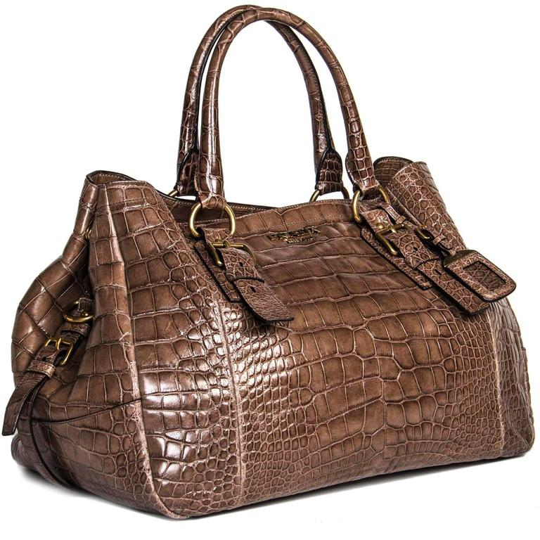 Women's Prada Brown Crocodile Large Bag For Sale