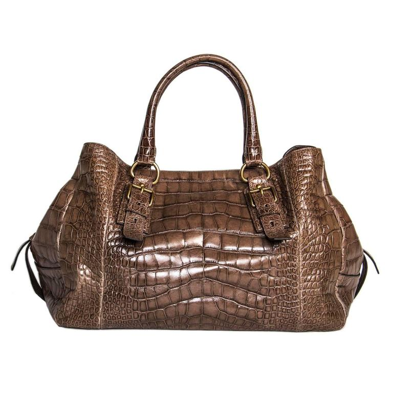 Prada Brown Crocodile Large Bag In Excellent Condition For Sale In Brooklyn, NY