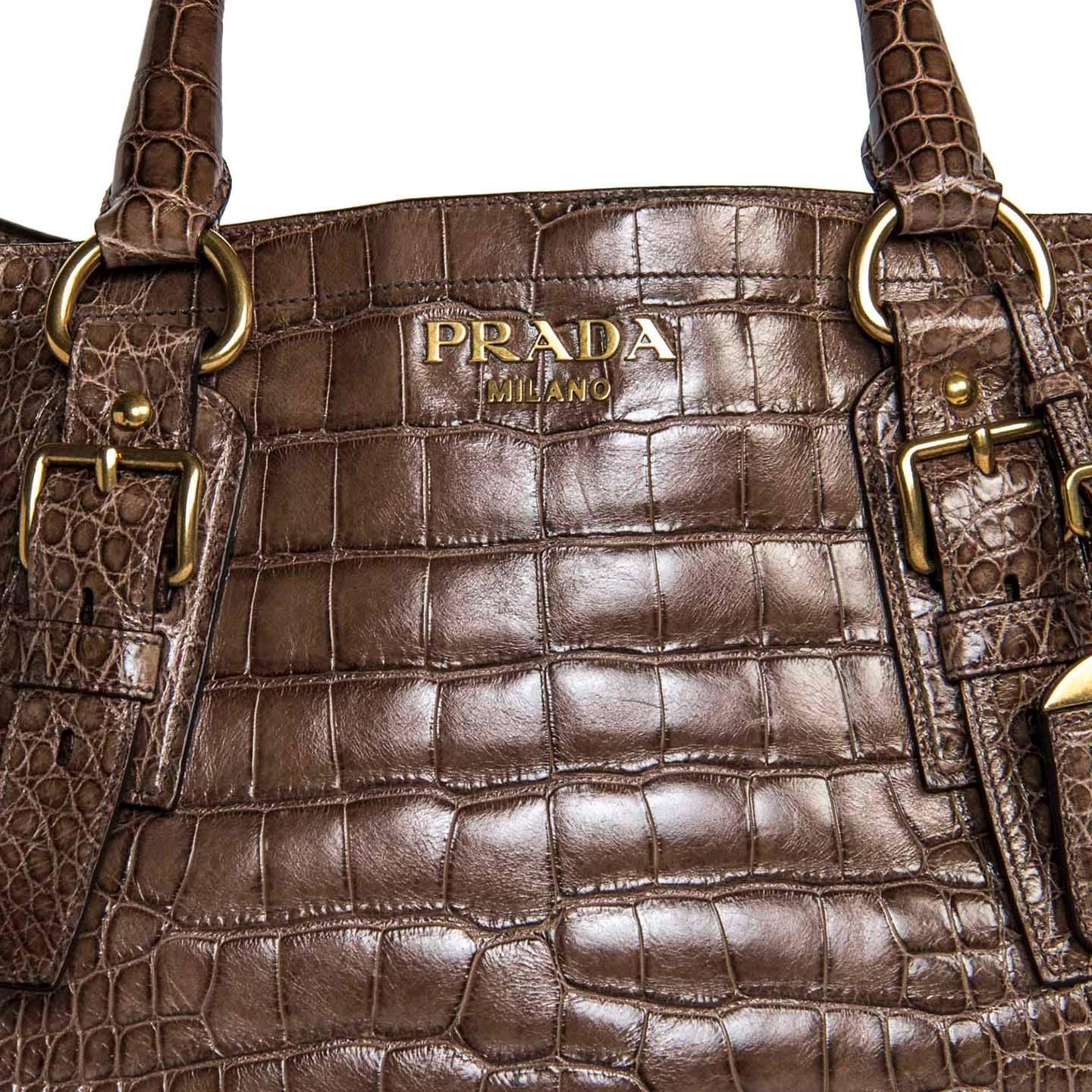 8bfe007d79db Prada Brown Crocodile Large Bag For Sale at 1stdibs