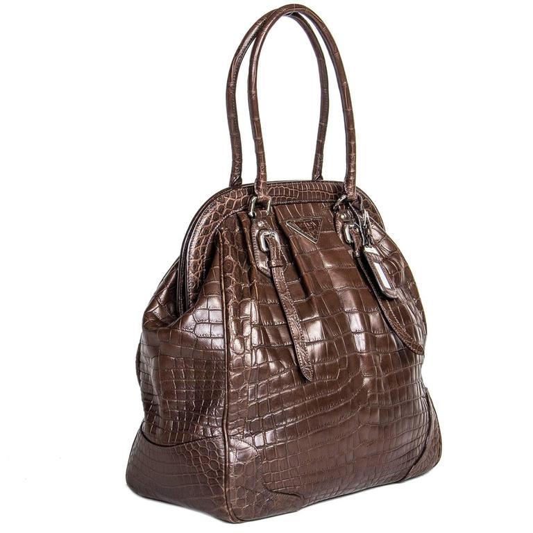 Black Prada Brown Crocodile Large Frame Bag