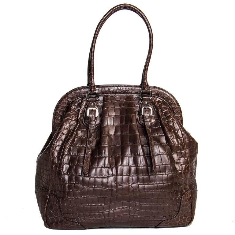 d27a7fbce05d Prada Brown Crocodile Large Frame Bag In Excellent Condition For Sale In  Brooklyn
