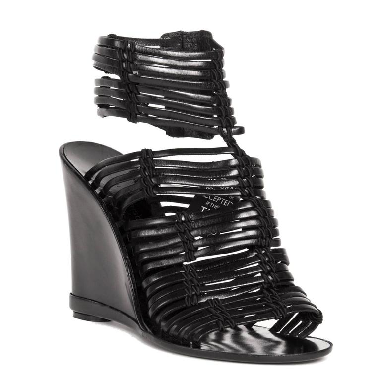Sigerson Morrison Black Leather Wedge Sandals 2