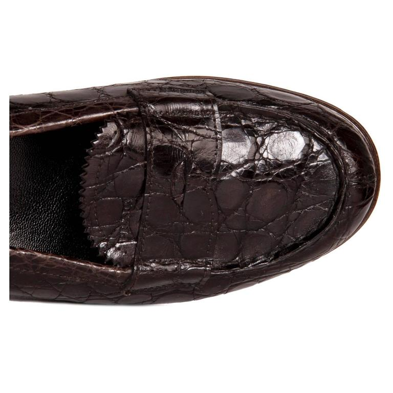 81e477c864e ... buy womens prada brown crocodile penny loafers for sale 09903 79e49
