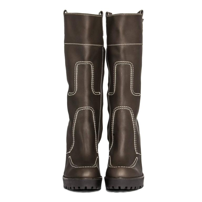 2d1827532c1 Black Yves Saint Laurent Brown Leather & Contrast Stitching Boots For Sale