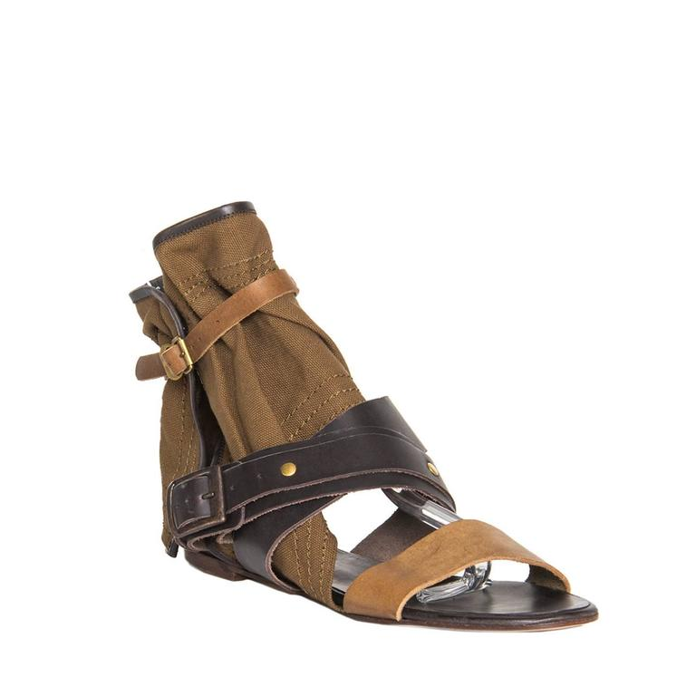 4654d0a6539 Dark brown and cognac color leather gladiator sandals with open front and a  wide olive canvas