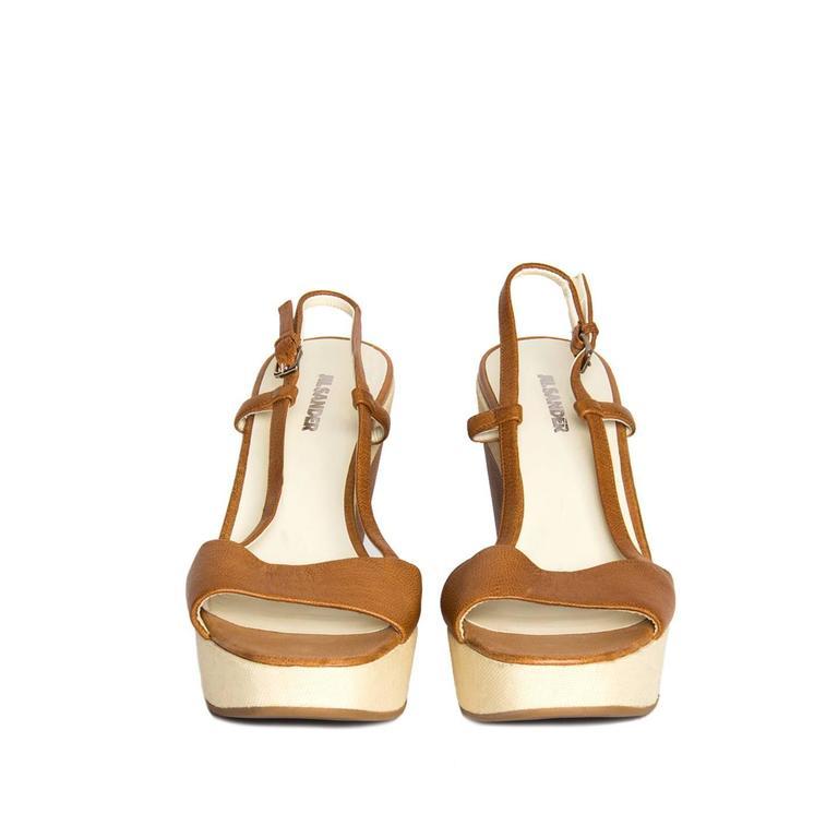 Brown Jil Sander Tan & Beige Leather Sandal For Sale