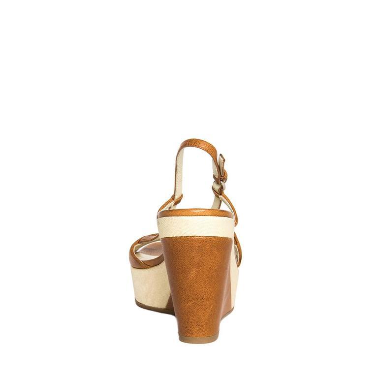 Women's Jil Sander Tan & Beige Leather Sandal For Sale