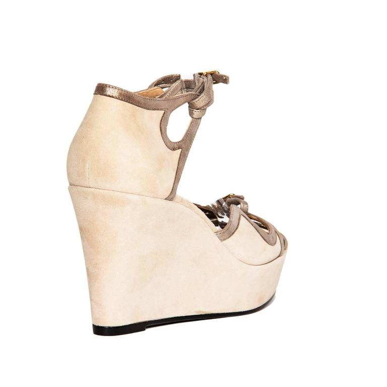 Hermès Taupe Suede Wedge Sandals 4