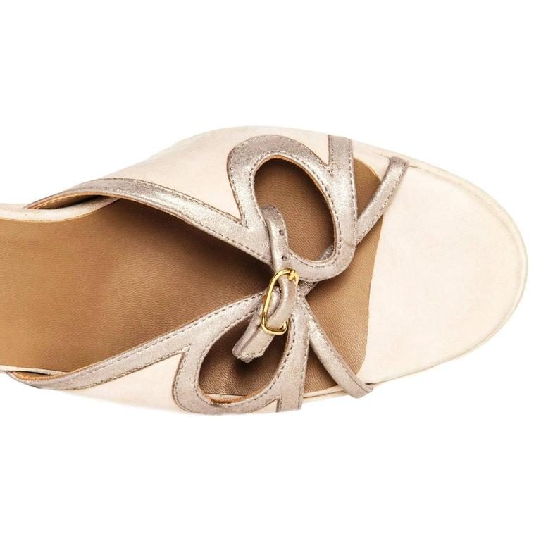 Hermès Taupe Suede Wedge Sandals 5