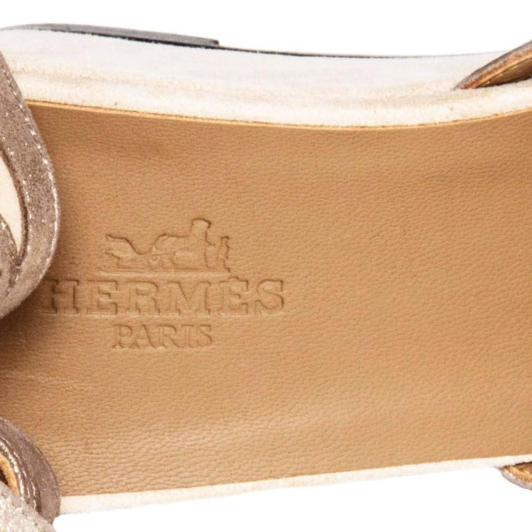 Hermès Taupe Suede Wedge Sandals For Sale 1