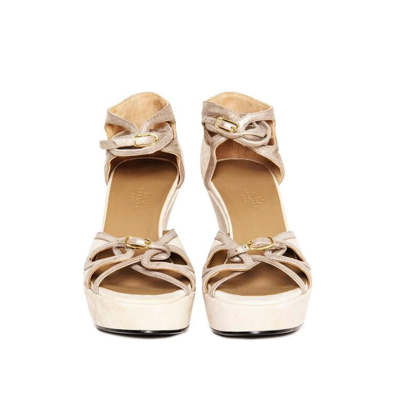 Hermès Taupe Suede Wedge Sandals 2