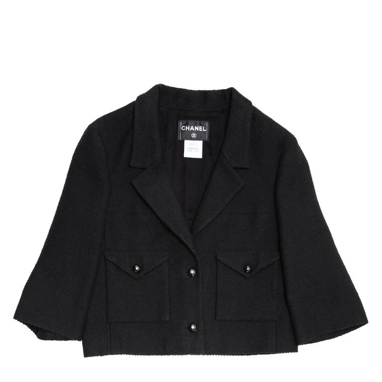 Chanel Black Cotton and Silk 3/4 Sleeve Cropped Jacket at 1stdibs