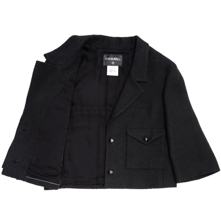 Chanel Black Cotton and Silk  3/4 Sleeve Cropped Jacket 3