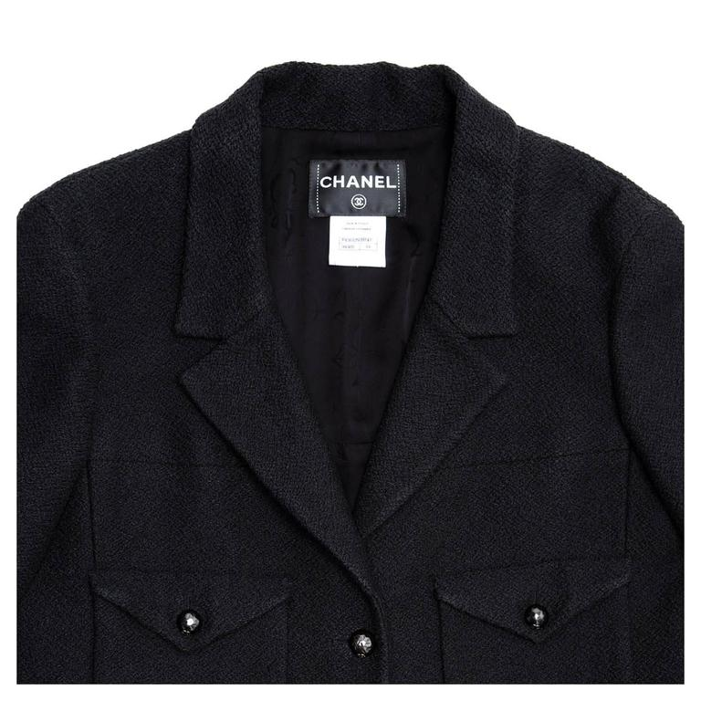 Chanel Black Cotton and Silk  3/4 Sleeve Cropped Jacket 5