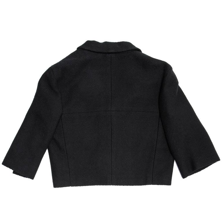 Chanel Black Cotton and Silk  3/4 Sleeve Cropped Jacket 4
