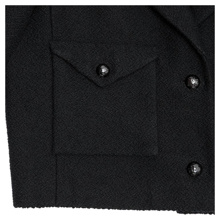 Chanel Black Cotton and Silk  3/4 Sleeve Cropped Jacket 6