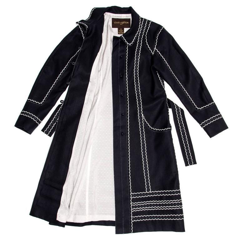 Black Louis Vuitton Dark Blue & White Cotton Coat For Sale