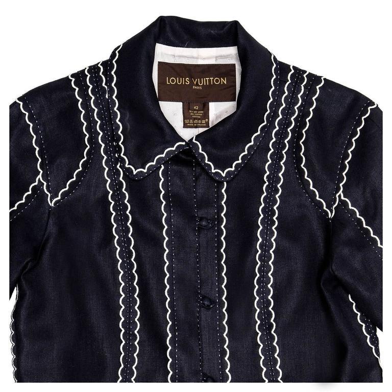 Women's Louis Vuitton Dark Blue & White Cotton Coat For Sale