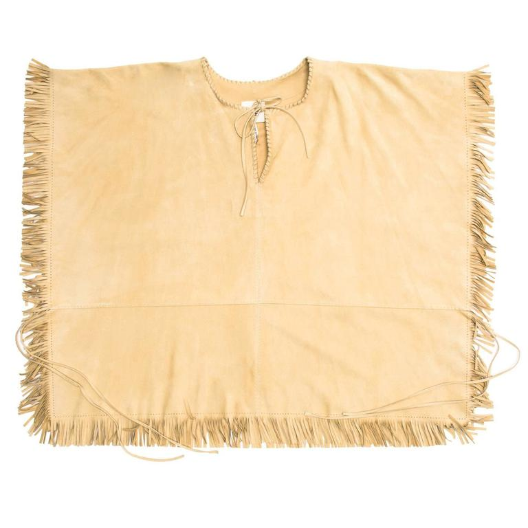 Women's Hermès Natural Suede Fringed Top For Sale