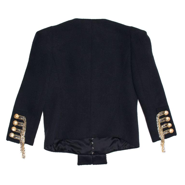Balmain Navy & Gold Cropped Jacket In Excellent Condition For Sale In Brooklyn, NY