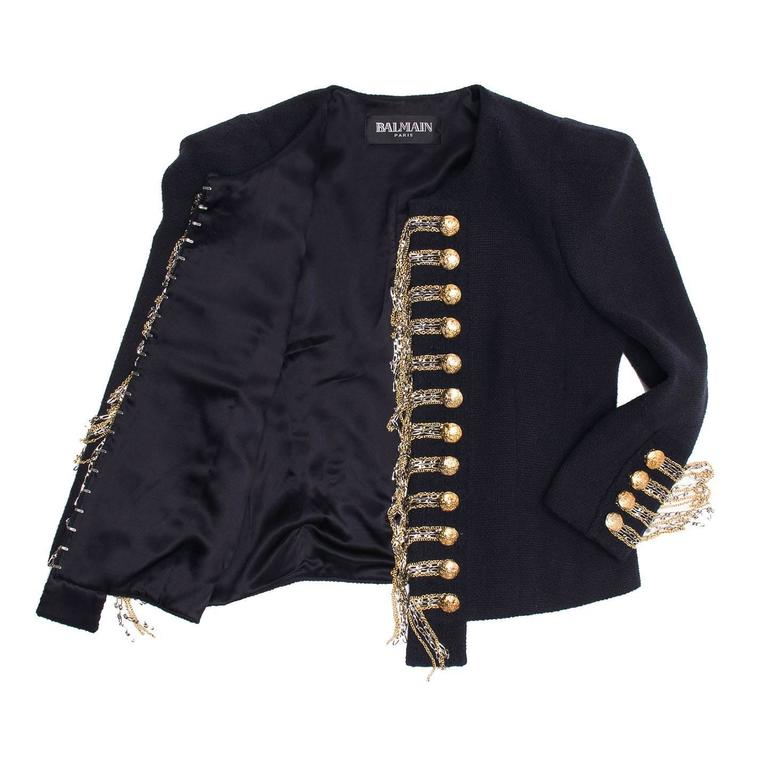 Black Balmain Navy & Gold Cropped Jacket For Sale