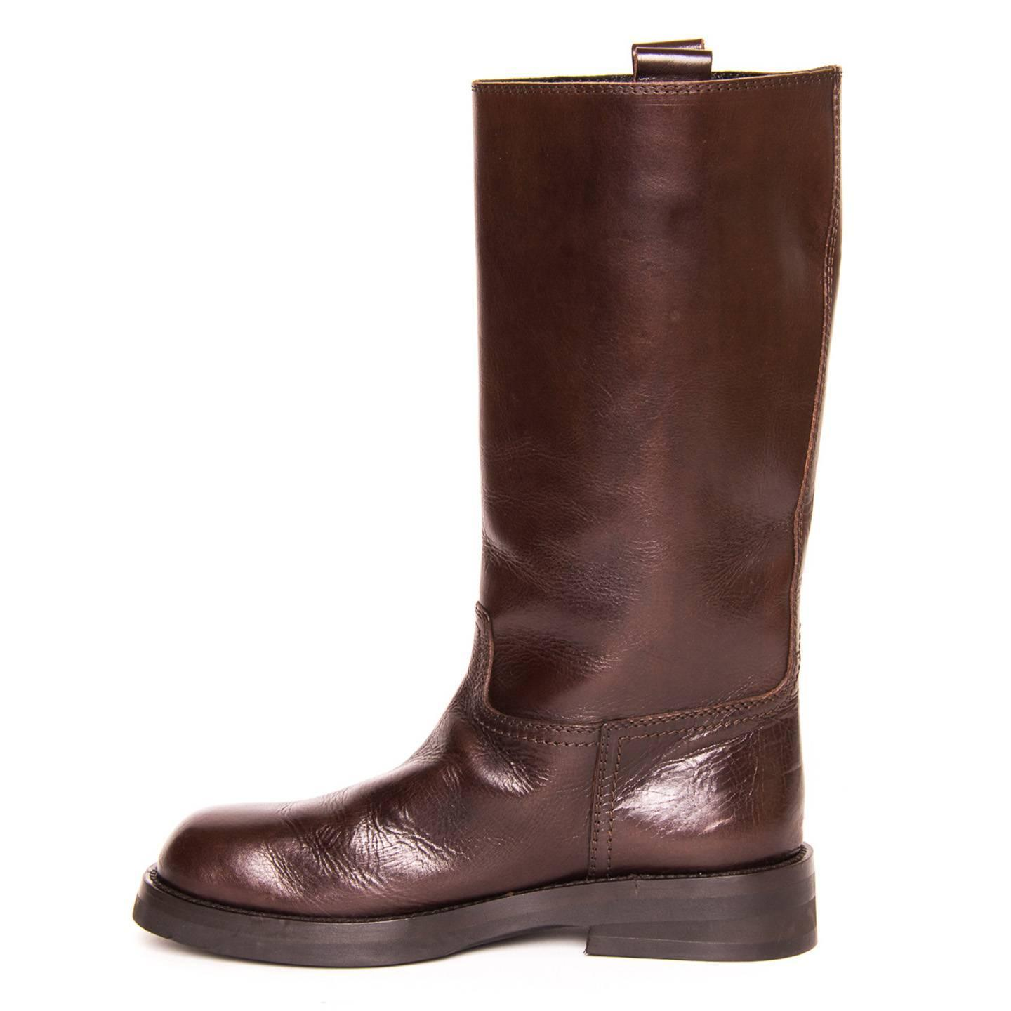 demeulemeester chocolate brown leather boots for sale