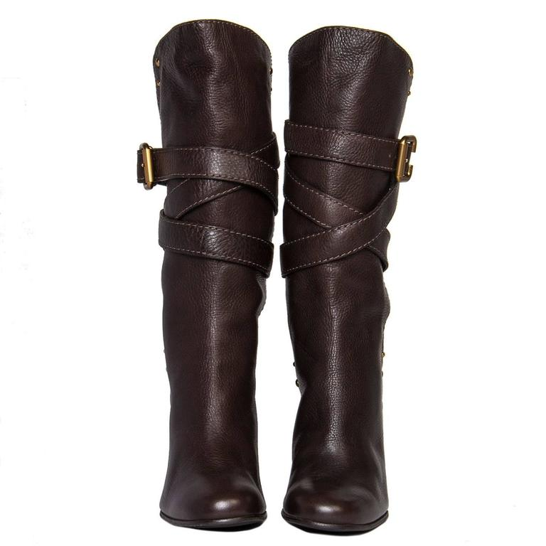 Black Chloe' Chocolate Brown Boots For Sale