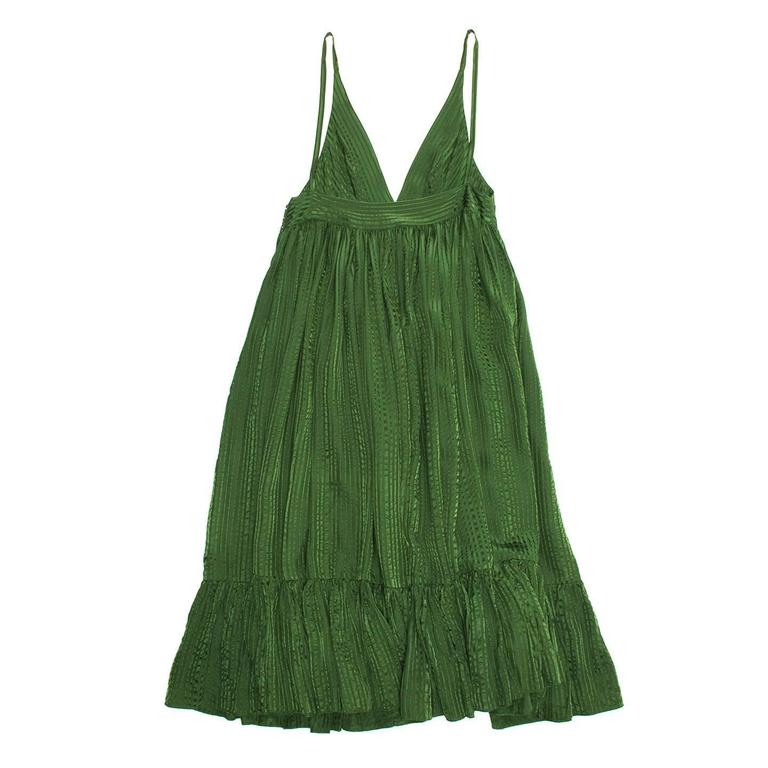 Balenciaga Green Silk Long Dress In Excellent Condition For Sale In Brooklyn, NY