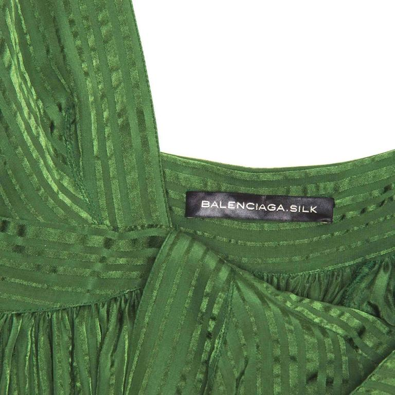 Women's Balenciaga Green Silk Long Dress For Sale