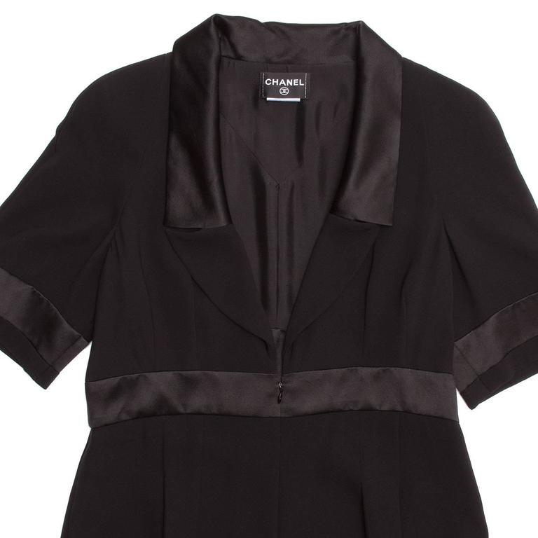 Women's Chanel Black Silk Dress with Satin Trim For Sale