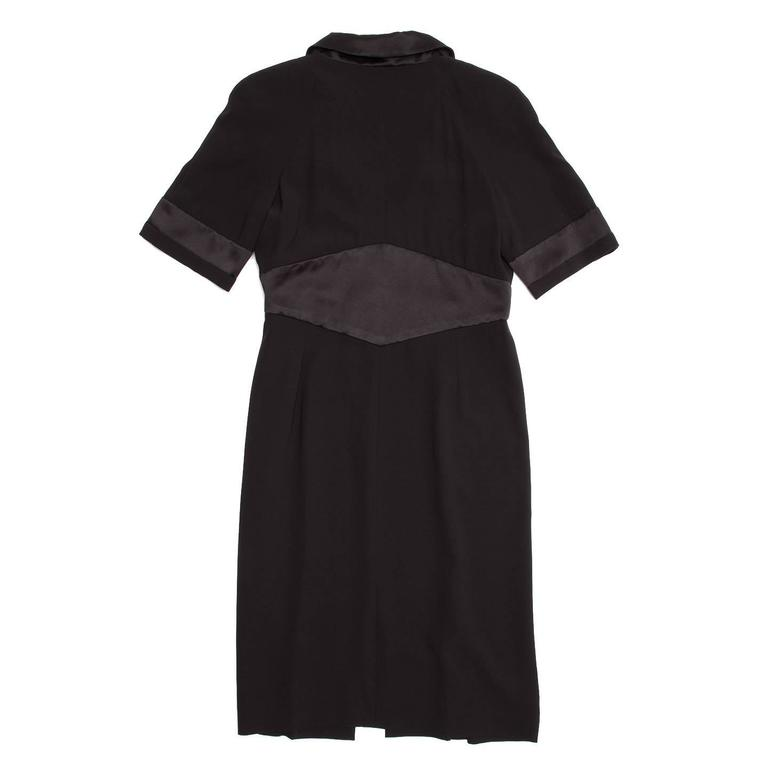 Chanel Black Silk Dress with Satin Trim In New Never_worn Condition For Sale In Brooklyn, NY