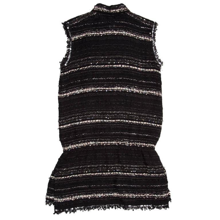 Black Chanel Multicolor Cotton Sleeveless Tunic Top For Sale