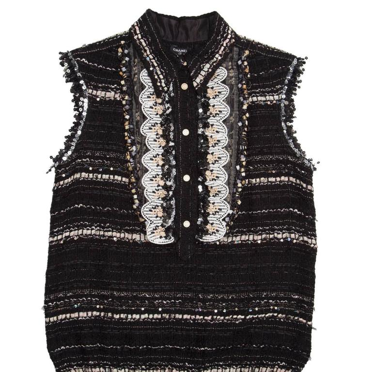 Chanel Multicolor Cotton Sleeveless Tunic Top In Excellent Condition For Sale In Brooklyn, NY