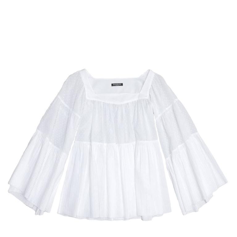 Balmain White Cotton 3/4 Sleeves Top 2