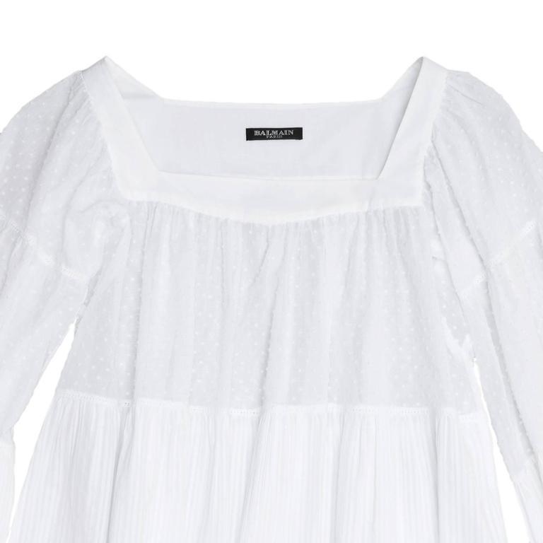 Balmain White Cotton 3/4 Sleeves Top 4