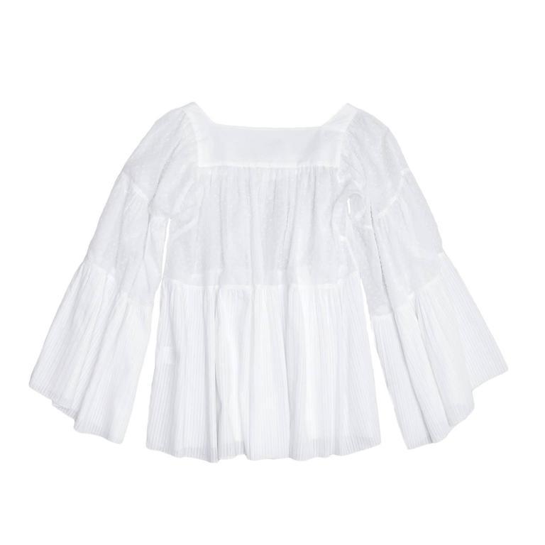 Balmain White Cotton 3/4 Sleeves Top 3