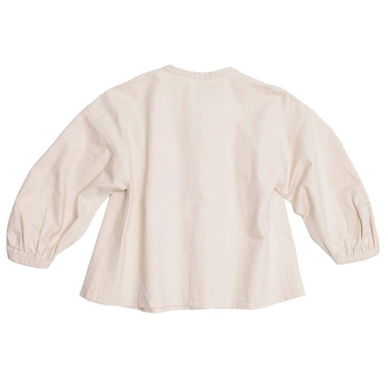 Beige Comme des Garçons Natural Cotton Cropped Top For Sale