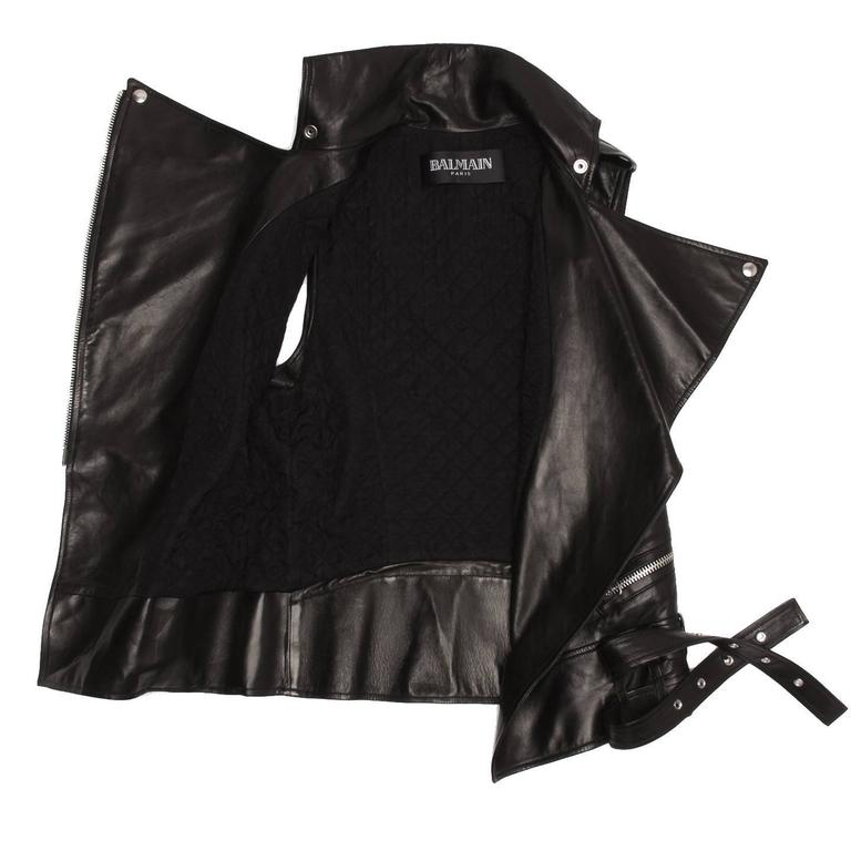 Balmain Black Leather Moto Style Vest 4