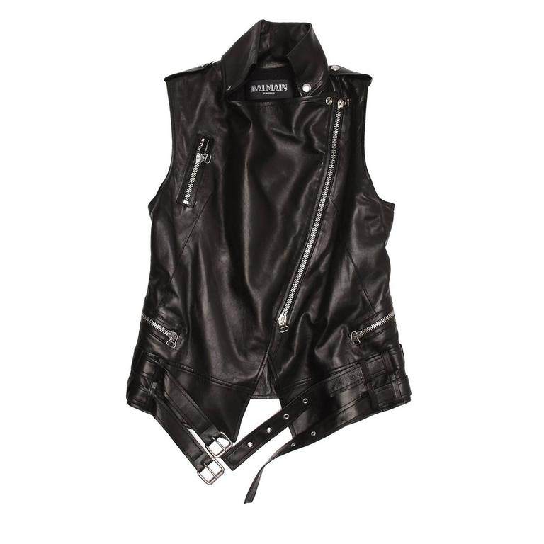 Balmain Black Leather Moto Style Vest 2