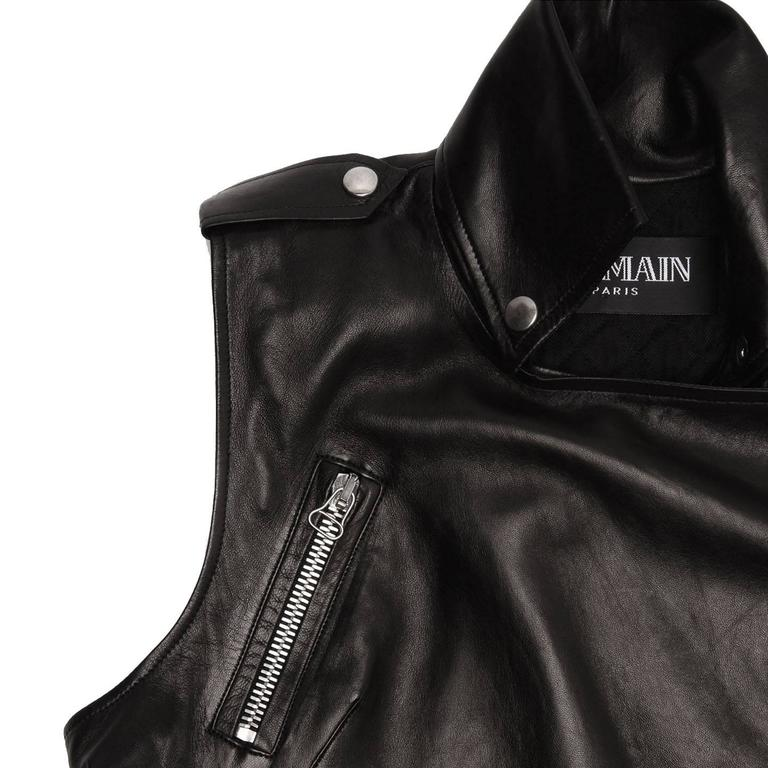 Balmain Black Leather Moto Style Vest 5