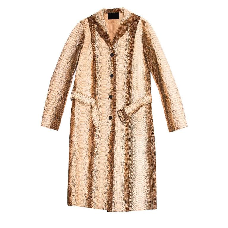 Prada Python Trench Style Coat In Excellent Condition For Sale In Brooklyn, NY